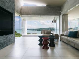 海を望む高台の家 地中海デザインの リビング の 株式会社 紀建設 スタジオビスポーク 地中海