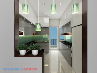 4BHK Vatika Seven lamps Kitchen design by Designers Gang