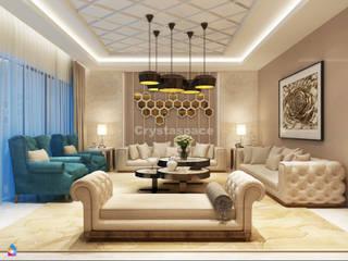 Premium 4BHK Interior Design Project at Janakpuri West, Delhi Modern living room by Crystaspace Modern