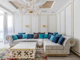 Art Deco and classic style in the interior of the apartment Гостиные в эклектичном стиле от Interior Designer Maria Green Эклектичный