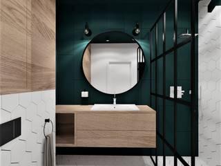 Łazienka heksagony Wkwadrat Architekt Wnętrz Toruń Industrialna łazienka Drewno O efekcie drewna