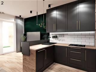 Mieszkanie w stylu loftowym w Toruniu Wkwadrat Architekt Wnętrz Toruń Aneks kuchenny Drewno Czarny