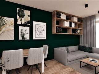 Mieszkanie w stylu loftowym w Toruniu Wkwadrat Architekt Wnętrz Toruń Industrialna jadalnia Matal Zielony