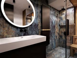 Łazienka z sauną Wkwadrat Architekt Wnętrz Toruń Industrialna łazienka Drewno Niebieski