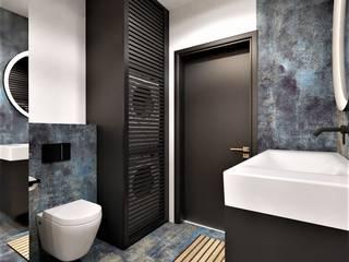 Łazienka z sauną Wkwadrat Architekt Wnętrz Toruń Minimalistyczna łazienka Płytki Niebieski
