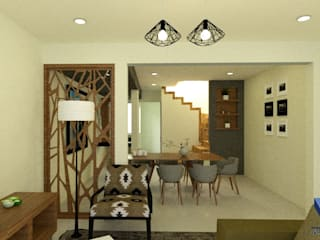 REMODELACIÓN DE INTERIORES Salones modernos de V+C Arquitectura Moderno
