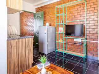 Living with Attached Kitchen by MAP Architects Classic Bricks