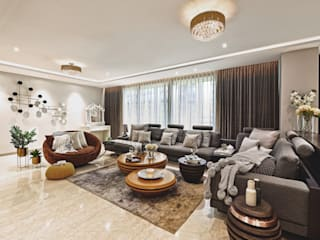 An Abode with An Elegant Splurge Modern living room by Milind Pai - Architects & Interior Designers Modern
