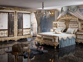 LUXURY LINE FURNITURE BedroomBeds & headboards Kayu Amber/Gold