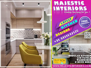 BEST MODULAR KITCHEN DESIGNS, IN FARIDABAD- INTERIOR-DESIGNER, LATEST KITCHEN DESIGNS Asian style dining room by MAJESTIC INTERIORS Asian