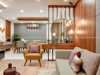 A Sprawling Luxury Space Tailored with finest of Finishes by D'LIFE. Modern living room by DLIFE Home Interiors Modern