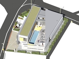 VILLA CONTEMPORAINE AVEC PATIO par A.FUKE-PRIGENT ARCHITECTE Moderne