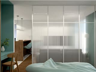 Mieszkanie singielki MACZ Architektura - Architekt wnętrz Rzeszów Nowoczesna sypialnia Szkło Biały