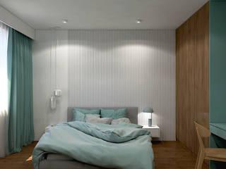 Mieszkanie singielki MACZ Architektura - Architekt wnętrz Rzeszów Nowoczesna sypialnia Drewno Biały