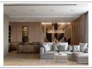 ЖК Башня CHKALOV Гостиная в стиле модерн от MOSS_Design_Studio Модерн