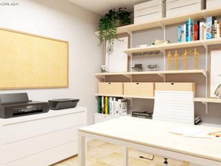 Primeiro Estudo de um Home-Office Escritórios modernos por Arq. Ana Lucia Madruga Moderno