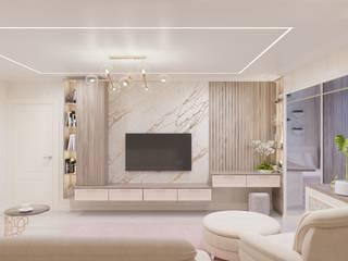 Дизайн проект гостиной совмещенной с лоджией Гостиные в эклектичном стиле от Стильная обстановка Эклектичный