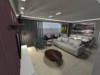 Área Social Cerejeira Salas de estar ecléticas por MEI Arquitetura e Interiores Eclético