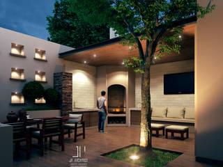 ASADORES CONTEMPORANEOS Juan Pedraza Arquitecto Jardines en la fachada Concreto Acabado en madera