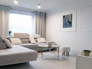 Mieszkanie w bieli Nowoczesny salon od AN Koncept Anita Niziałek Nowoczesny