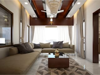 Monnaie Interiors Pvt Ltd Living room Engineered Wood Brown