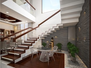 Monnaie Interiors Pvt Ltd Stairs Engineered Wood Brown