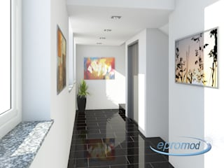 Modern Corridor, Hallway and Staircase by 3D Visualisierung epromod Modern
