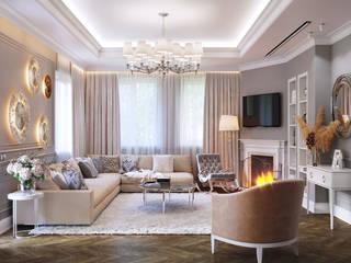 Дом в современной классике Гостиная в классическом стиле от CGM studio Классический