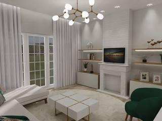 Sala de estar e jantar Salas de estar ecléticas por Fabiana Poeta Decoração e Design de Interiores Eclético