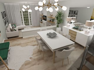 Sala de estar e jantar Salas de jantar ecléticas por Fabiana Poeta Decoração e Design de Interiores Eclético