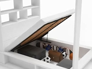 Himmelbett Calgary 160x200 mit Regal, Bettkasten und aufklappbarem Lattenrost: modern  von QMM TraumMoebel,Modern