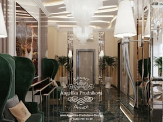 Pasillos, vestíbulos y escaleras clásicas de Дизайн-студия элитных интерьеров Анжелики Прудниковой Clásico