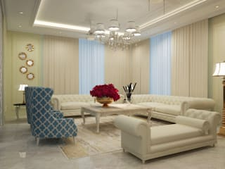 Premium 4BHK Apartment in Jaypee Greens, Greater Noida Classic style living room by Crystaspace Classic