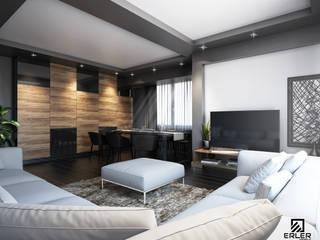 İstanbul'da Grinin ve ahşabın sıcaklığından ve tamamlayıcılığından yola çıktığımız daire tasarımı ve uygulaması. Modern Oturma Odası Erler Mimarlık Modern