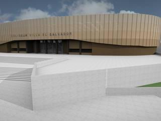 POLIDEPORTIVO DE VILLA EL SALVADOR. SEDE GIMNASIA Y KARATE. LIMA 2019 Javier Garcia Alda arquitecto Estadios de estilo moderno Metal Gris