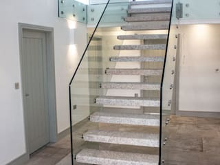 Granite & Glass Staircase by Camel Glass Modern