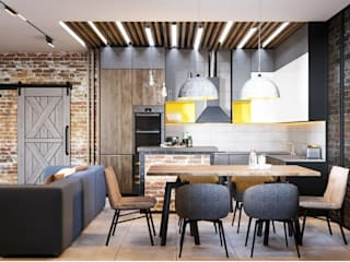 Industrial style kitchen by Interior designers Pavel and Svetlana Alekseeva Industrial