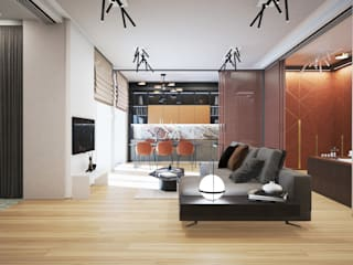 Minimalist living room by Андреевы.РФ Minimalist