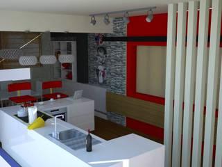 SERPİCİ's Mimarlık ve İç Mimarlık Architecture and INTERIOR DESIGN Paesaggio d'interni PVC Rosso