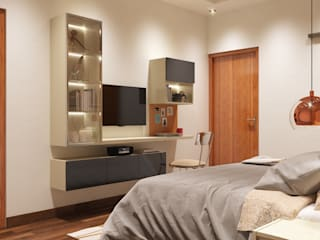 Elite Master Bedroom decor for project in Ambika Vihar, New Delhi.: modern  by Lakkad Works,Modern