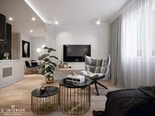 Nowoczesny apartament Nowoczesny salon od D' INTERIOR. STUDIO WNĘTRZ Nowoczesny