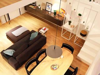 Residenze 900 Onice Architetti Soggiorno minimalista Legno Bianco