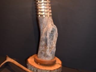 Table lamp from Finnish Kelo wood - wood lamp - tree trunk lamp Jochens-Elch-O-Thek Living roomLighting Wood Grey