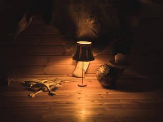 schöne Tischlampe mit Birkenrindeschirm von Jochens-Elch-O-Thek Skandinavisch