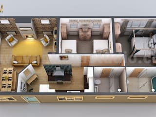 Modern Small Home Design 3D Floor Plan by Yantarm Architectural Rendering Company by Yantram Architectural Design Studio