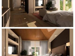 Дизайн-проект спальни в коттедже в эко стиле Спальня в средиземноморском стиле от GoodFamilyHome by Irina Otadzhi Средиземноморский