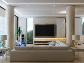 Гостиная в частном доме на побережье в Греции Гостиная в стиле минимализм от Александр Бабаджанян Минимализм