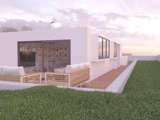 DISEÑO APARTAMENTO EN EL FARO DE MASPALOMAS INARQ Espacio Balcones y terrazas de estilo minimalista Beige