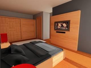 SERPİCİ's Mimarlık ve İç Mimarlık Architecture and INTERIOR DESIGN BedroomBeds & headboards Kayu Wood effect