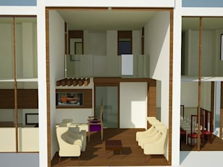 SERPİCİ's Mimarlık ve İç Mimarlık Architecture and INTERIOR DESIGN Soggiorno minimalista PVC Marrone